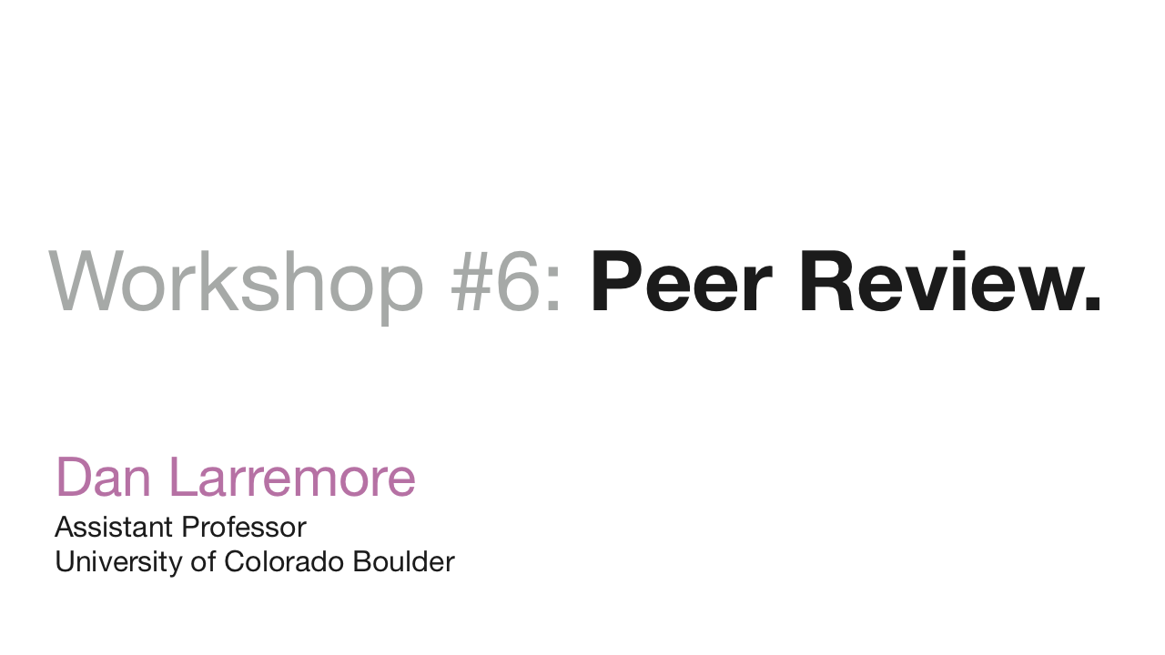 Workshop: Peer Review
